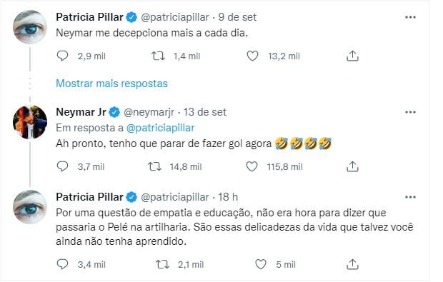 Patricia Pillar e Neymar discutem (Foto: Reprodução/Twitter)