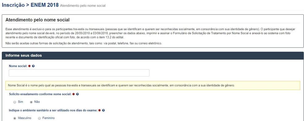 Solicitação de uso de nome social no Enem começa nesta segunda (28). (Foto: Reprodução)