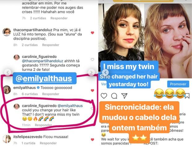 Interação de Emily Althaus e Carolinie Figueiredo (Foto: Reprodução / Instagram)