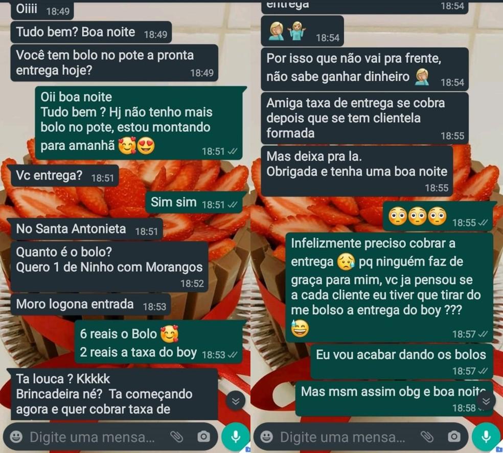 Ângela compartilhou conversa que teve com a cliente de Marília no WhatsApp — Foto: WhatsApp/Reprodução