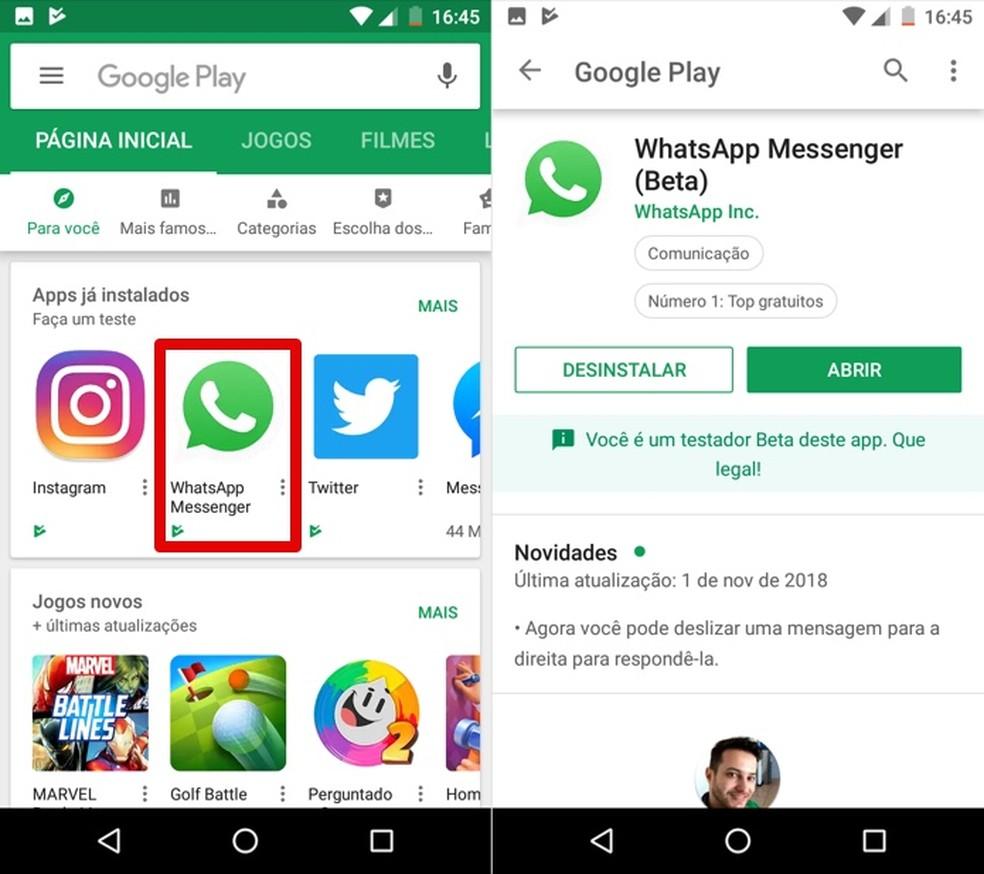 Abra a página de download do WhatsApp Beta no Google Play — Foto: Reprodução/Helito Beggiora