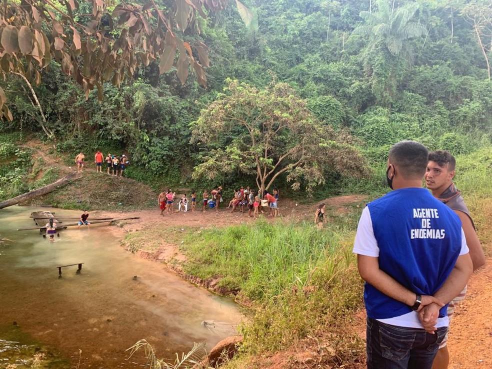 Aglomeração foi registrada em vários pontos de Mojuí dos Campos — Foto: Vigilância Sanitária de Mojuí dos Campos/Divulgação
