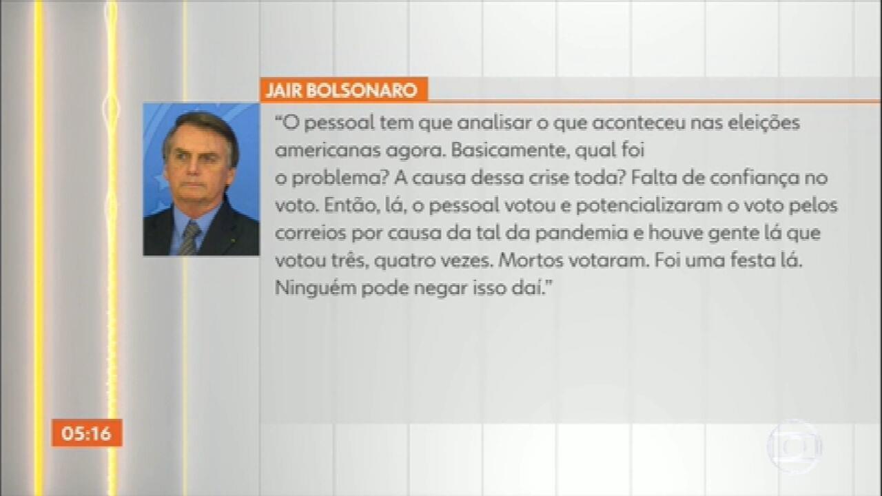 Bolsonaro volta a questionar sistema eleitoral brasileiro e faz previsão em tom de ameaça