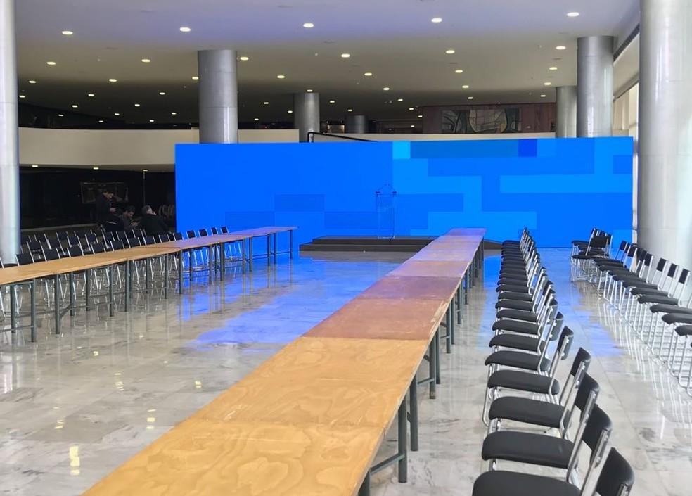 Salão Nobre do Palácio do Planalto montado para a cerimônia desta terça (15) (Foto: Guilherme Mazui/G1)