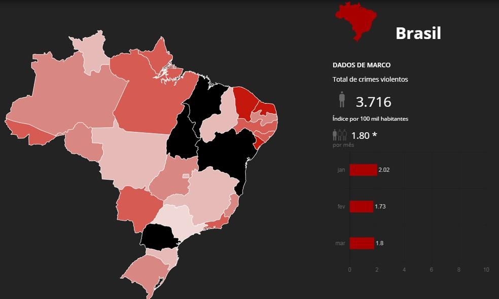 Mapa mostra quase 4 mil mortes em março (Foto:  G1)