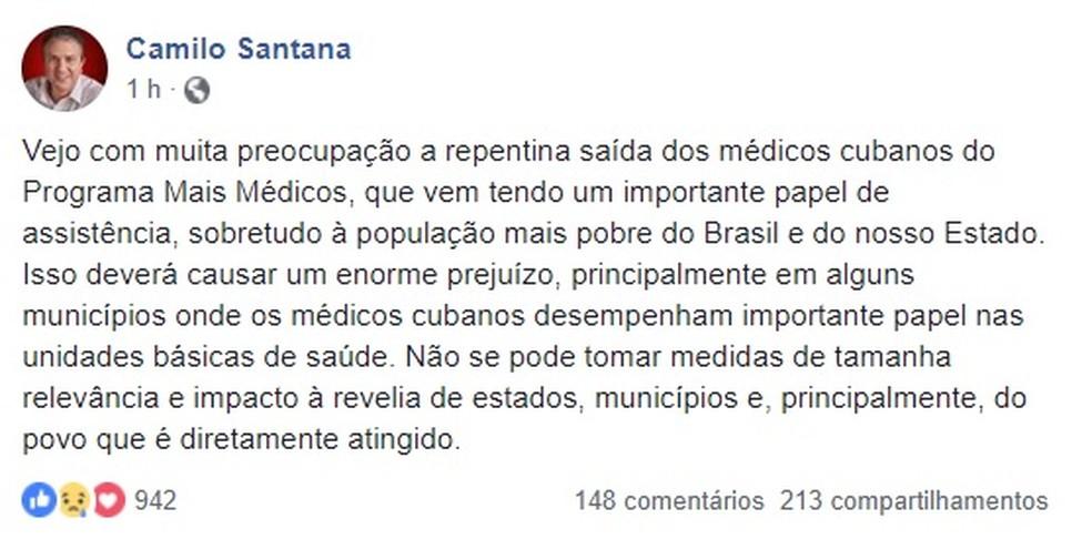 Camilo Santana critica a saída do programa Mais Médicos  — Foto: Reprodução/Facebook Camilo Santana