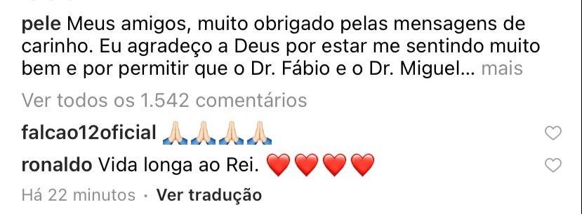 Famosos mandam mensagens de apoio para Pelé (Foto: Reprodução/Instagram)