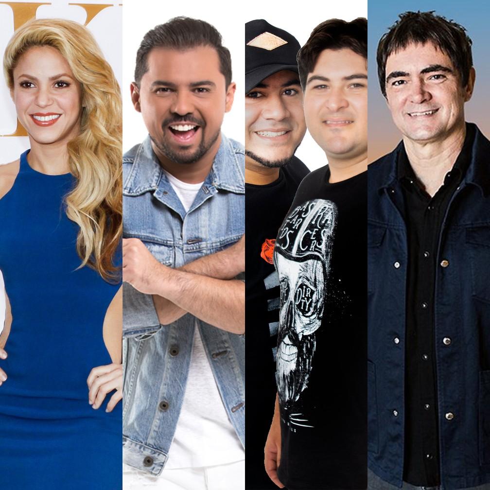Shakira (Global Goal Festival), Xand Avião (Arraiá em Casa), Barões da Pisadinha e Skank estão entre as lives deste sábado (27) — Foto: Divulgação e Celso Tavares / G1