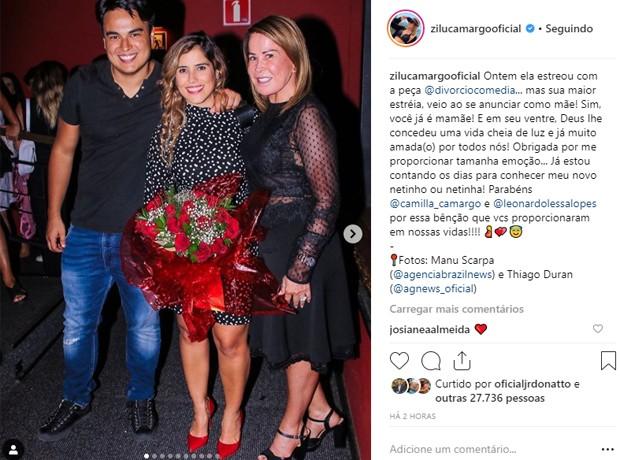 Zilu Godói comemora gravidez de Camilla Camargo (Foto: Reprodução/Instagram)
