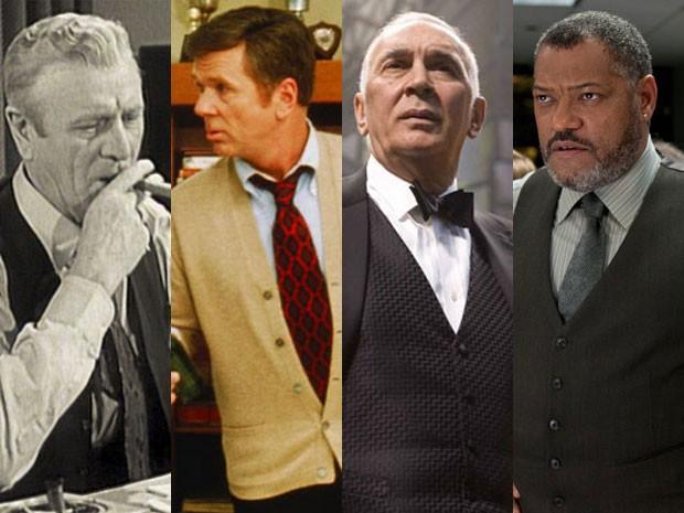 Pierre Watkin em 'Superman', Jackie Cooper em 'Superman', Frank Langella em 'Superman - o retorno' e Laurence Fishburne em 'O homem de aço' (Foto: Divulgação)