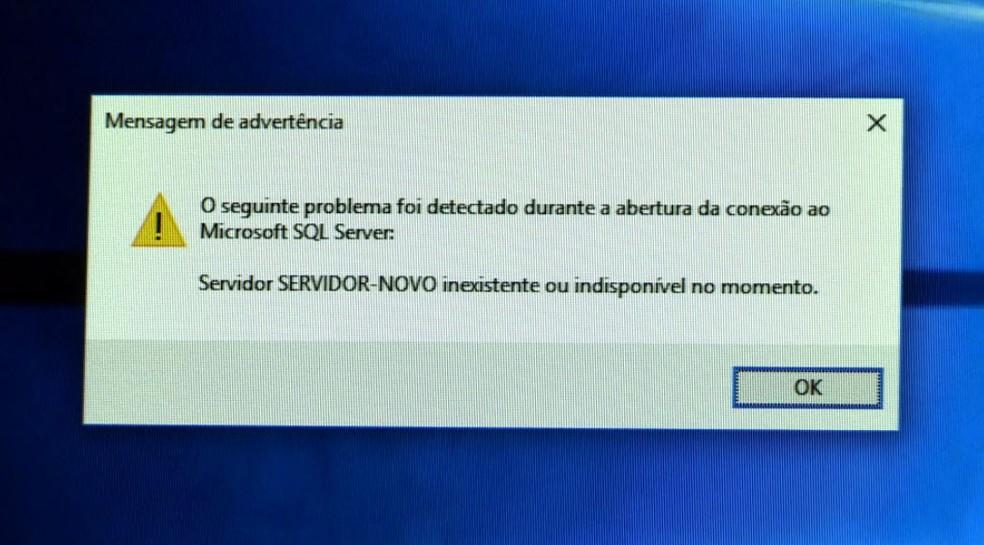 Mensagem nos computadores da Prefeitura de Barrinha, SP, diz que servidor não existe — Foto: Reprodução/EPTV