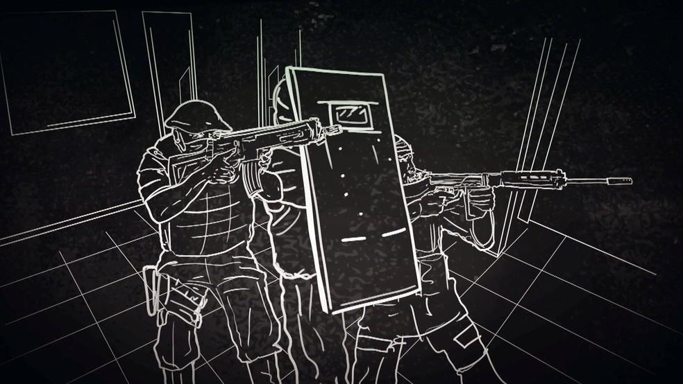 Simulação mostra, segundo depoimento, como os três PMs baianos atiraram contra Adriano da Nóbrega — Foto: Reprodução/TV Globo
