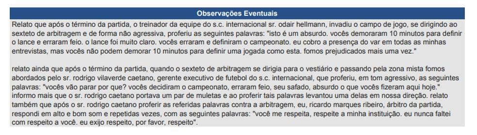 Parte da súmula de Inter x Santos  — Foto: Reprodução
