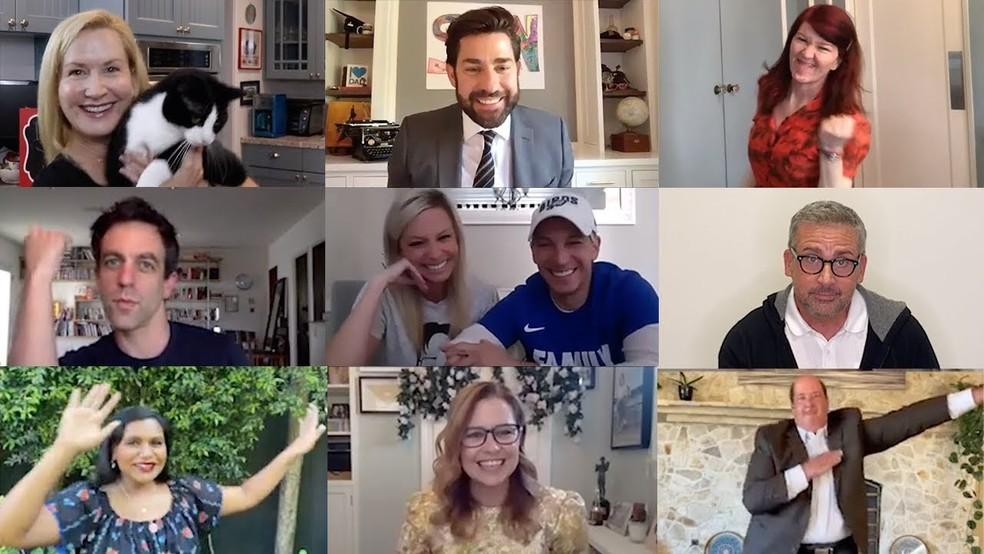 Elenco de 'The office' se reúne para casamento virtual de fãs, durante a quarentena causada pelo coronavírus — Foto: Reprodução/YouTube