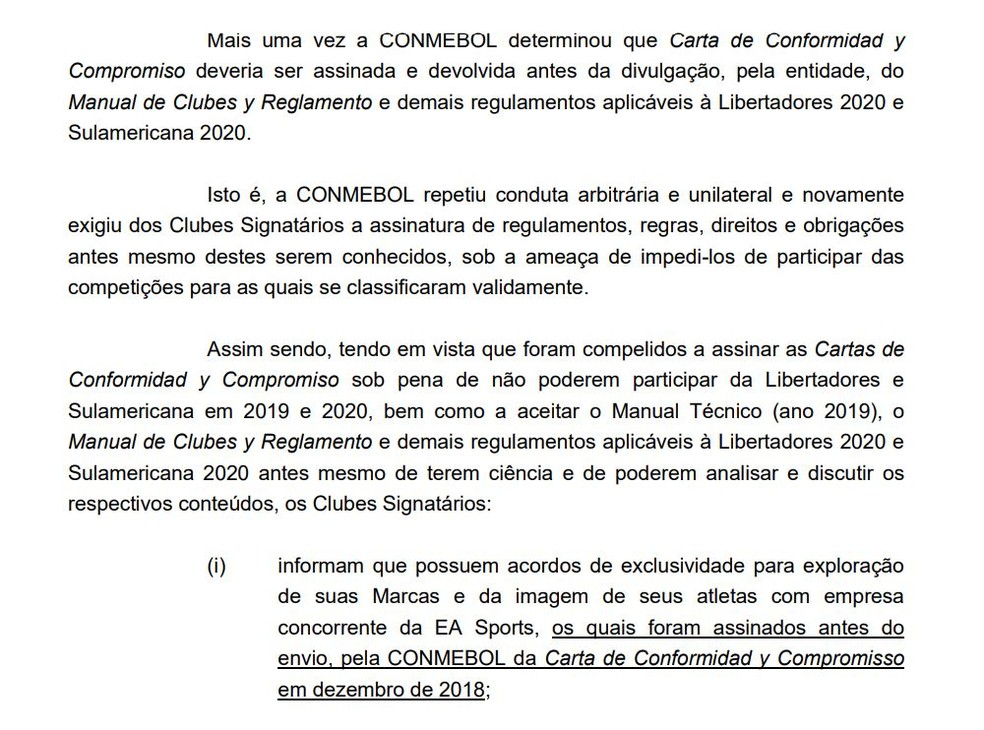 Cinco clubes se manifestaram contra regra da Conmebol sobre direitos para videogame — Foto: Reprodução