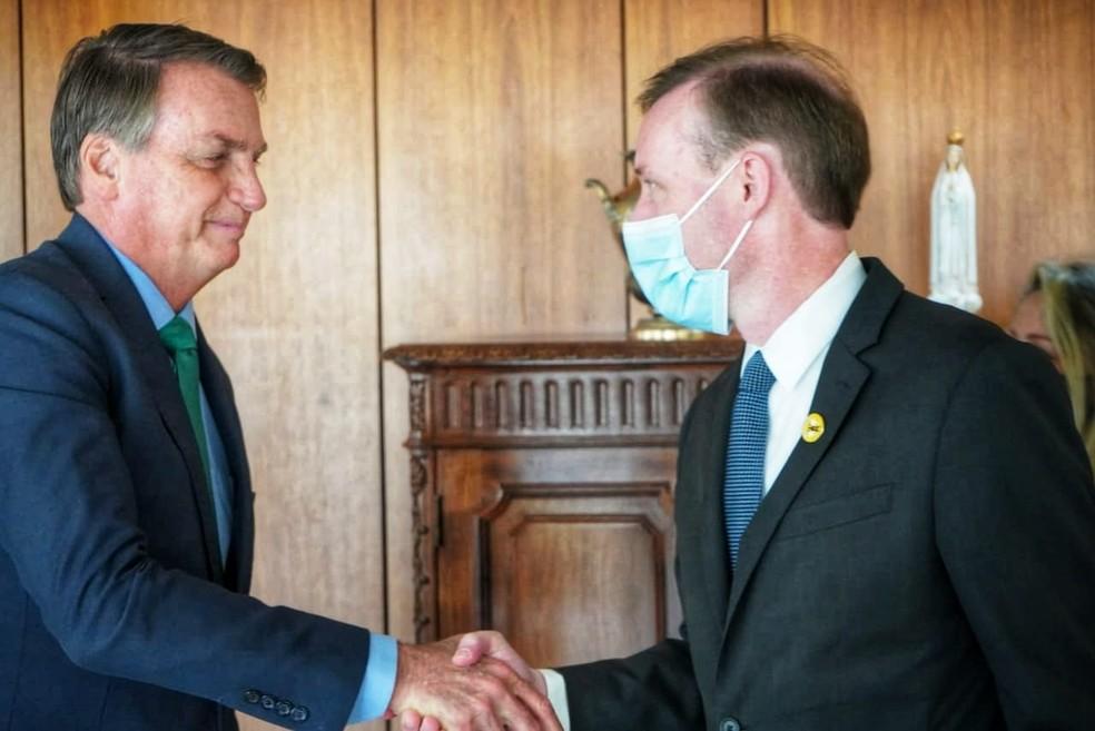 Presidente Jair Bolsonaro encontra o conselheiro de Segurança Nacional dos Estados Unidos, Jake Sullivan, nesta quinta-feira (5).— Foto: Divulgação/Embaixada dos Estados Unidos