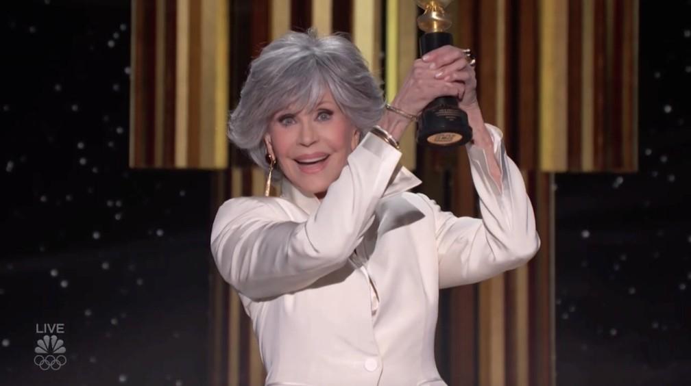 Jane Fonda é homenageada no Globo de Ouro 2021 — Foto: Reprodução