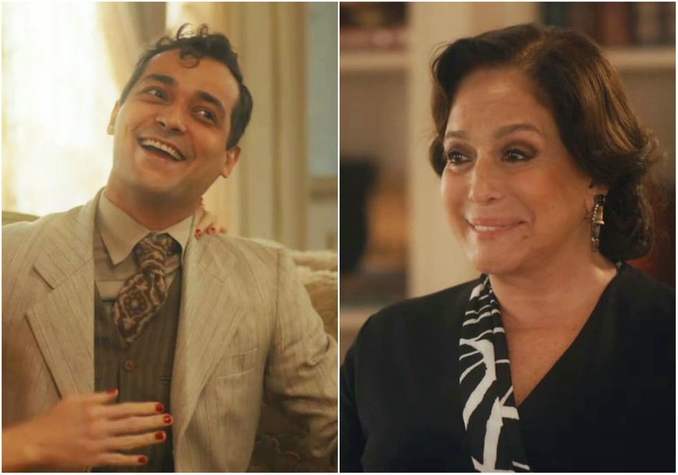 Zeca (Eduardo Sterblitch) é recontratado por Emília (Susana Vieira) em 'Éramos Seis' — Foto: Globo