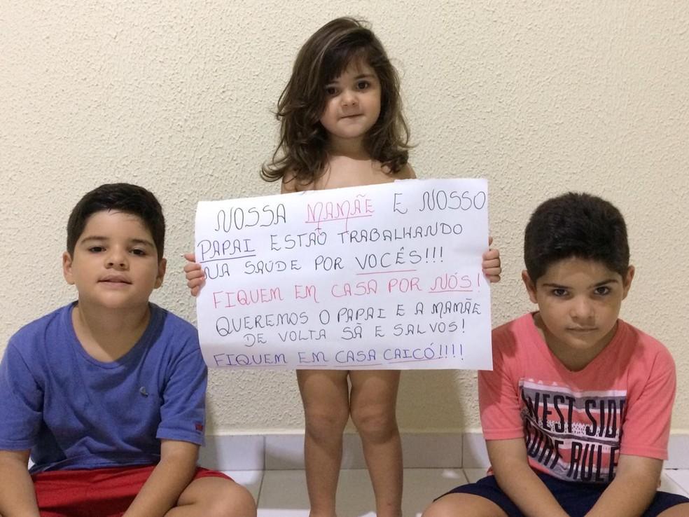 Filhos da enfermeira Redianne Medeiros, em Caicó — Foto: Cedida