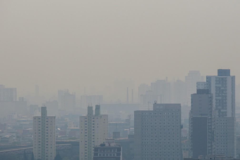 Nuvem de fumaça originadas das queimadas do Pantanal pode ser vista do alto de prédio localizado na região central da cidade de São Paulo na manhã deste sábado (19) — Foto: SUAMY BEYDOUN/AGIF/ESTADÃO CONTEÚDO