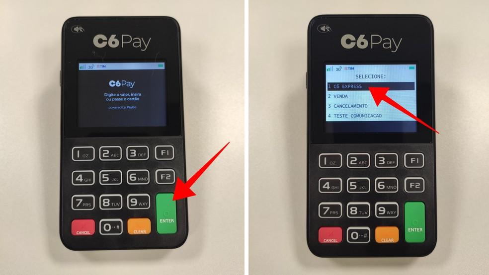 Acesse o menu C6 Express em uma maquininha C6 Pay SuperMini ou Essencial  — Foto: Divulgação/C6 Bank