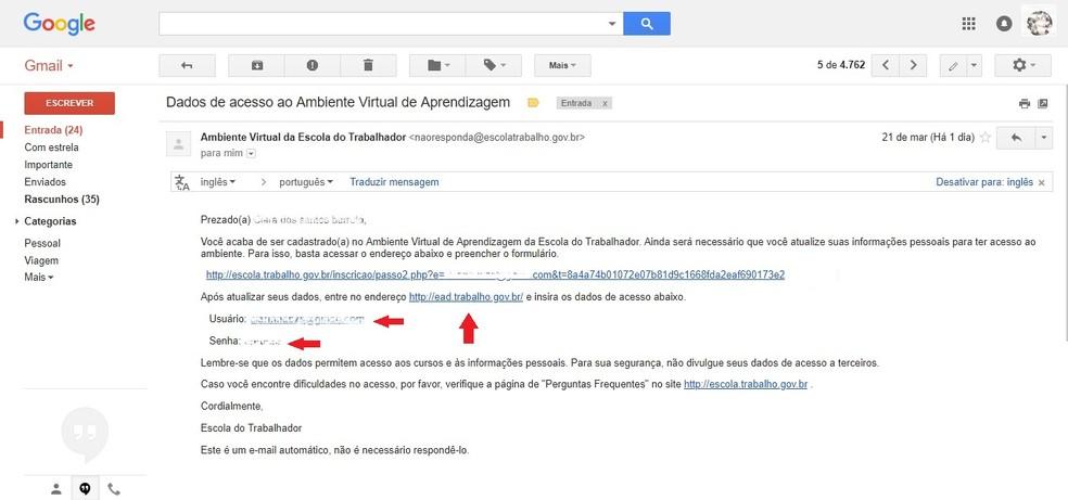 No mesmo e-mail, haverá o link para acesso ao curso, junto de login e senha (Foto: Reprodução/Clara Barreto)