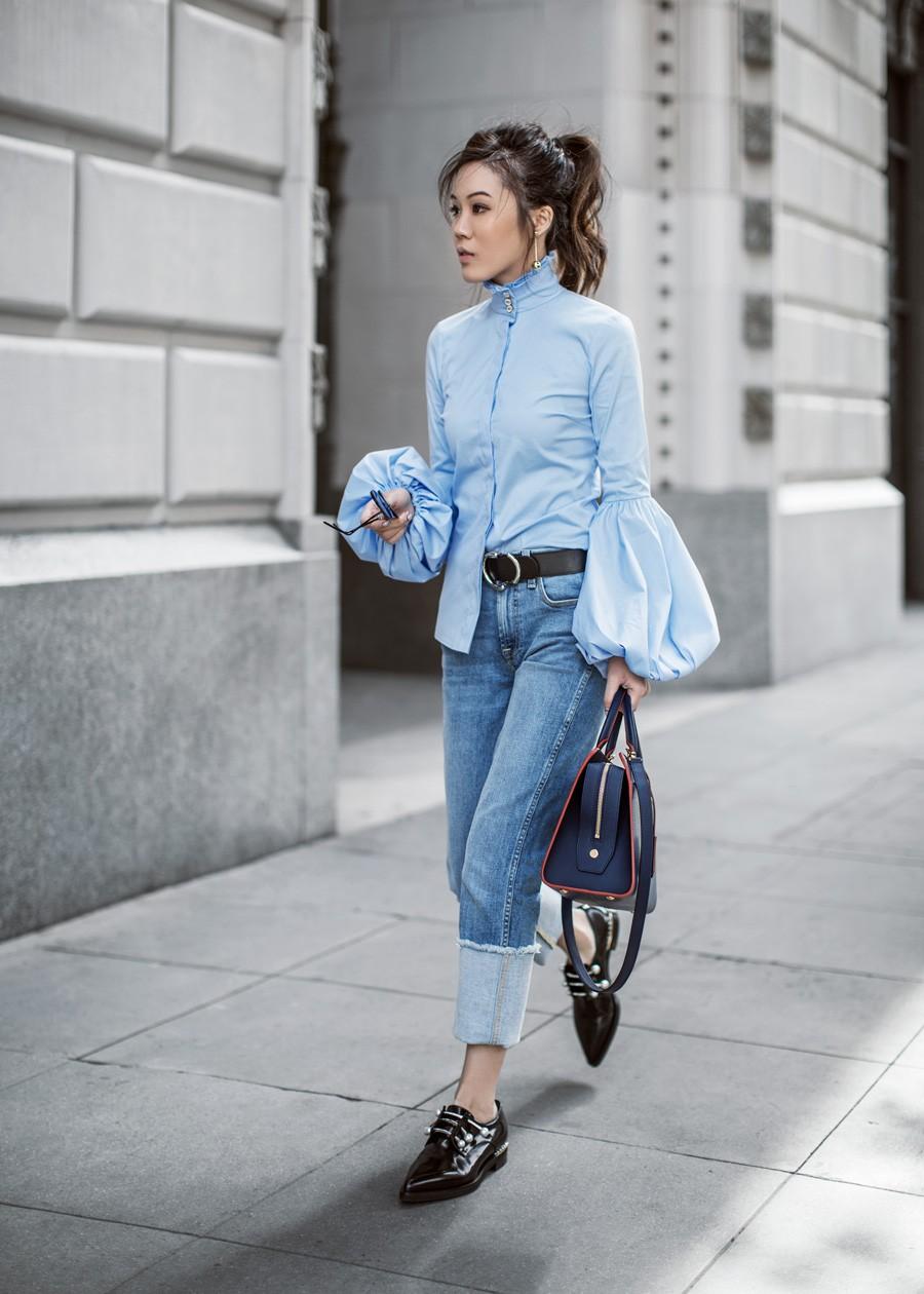 Combine camisa vitoriana com jeans (Foto: Reprodução/ Tsangtastic)
