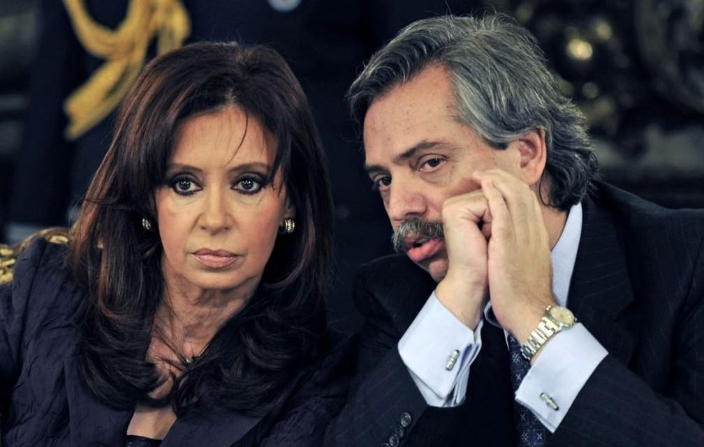 Cristina afirma que será candidata a vice na chapa liderada pelo ex-chefe de Gabinete de Nestor Kirchner, Alberto Fernández — Foto: Daniel Garcia/AFP