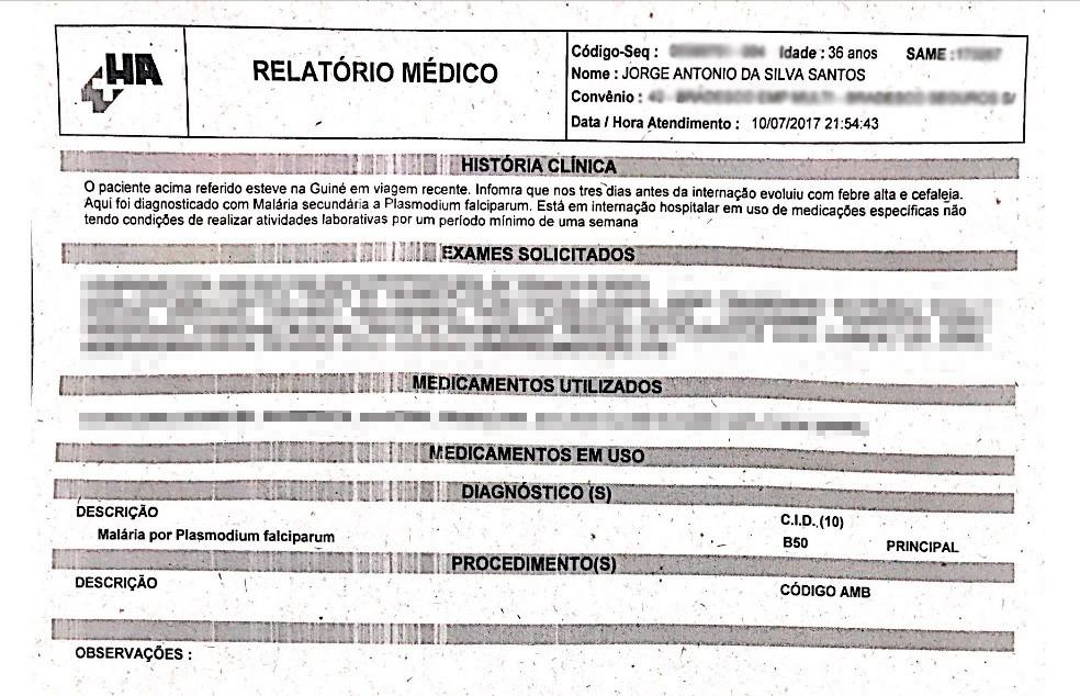Relatório médico do cantor Tony Salles, diagnosticado com malária  (Foto: Divulgação)