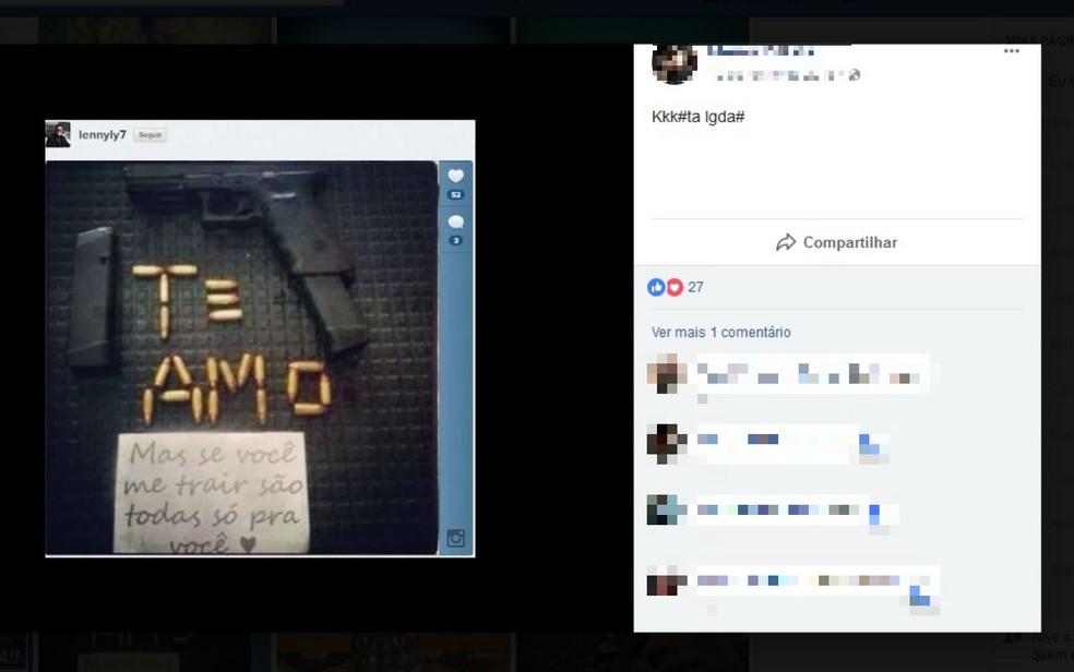Jovem compartilhou foto com ameaça no Facebook (Foto: Reprodução/Facebook)