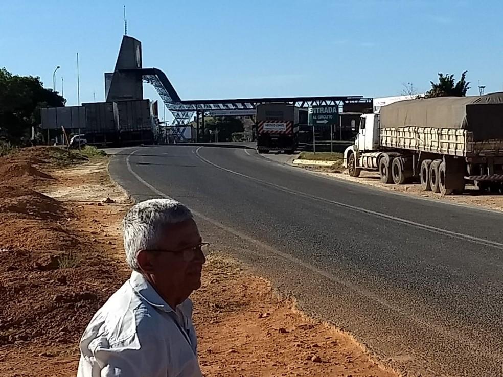 Caminhões brasileiros dento da Venezuela — Foto: Arquivo pessoal