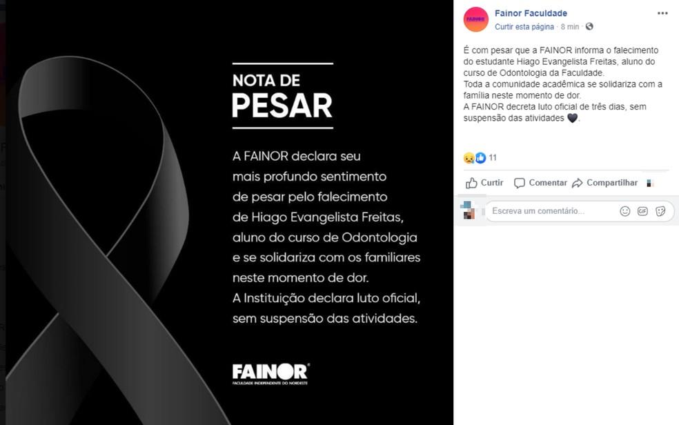 Faculdade que Hiago Evangelista Freitas estudava odontologia decretou luto oficial de três dias — Foto: Reprodução/Redes Sociais