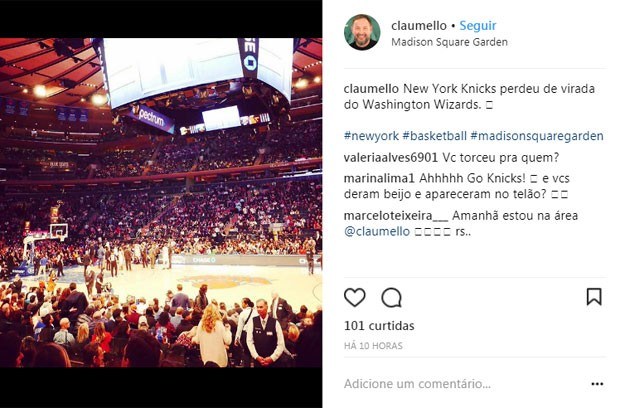 Claudio Mello no jogo de basquete (Foto: Reprodução)