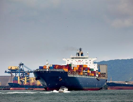 O PROBLEMA Navio atracado no porto de Santos. O inquérito que investiga Temer e um esquema  no porto opõe Segovia e os delegados do caso  (Foto: Moment Open/Getty Images)