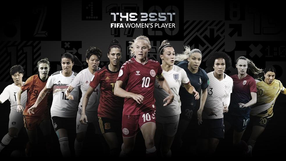 Candidatas ao prêmio de melhor jogadora do Fifa The Best 2020 — Foto: Reprodução de Twitter
