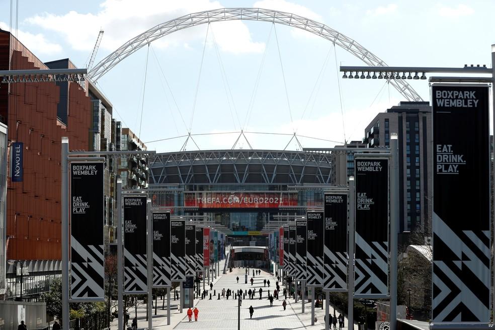 Wembley estava pronto para receber a final da Eurocopa 2020, que foi adiada — Foto: REUTERS/Matthew Childs