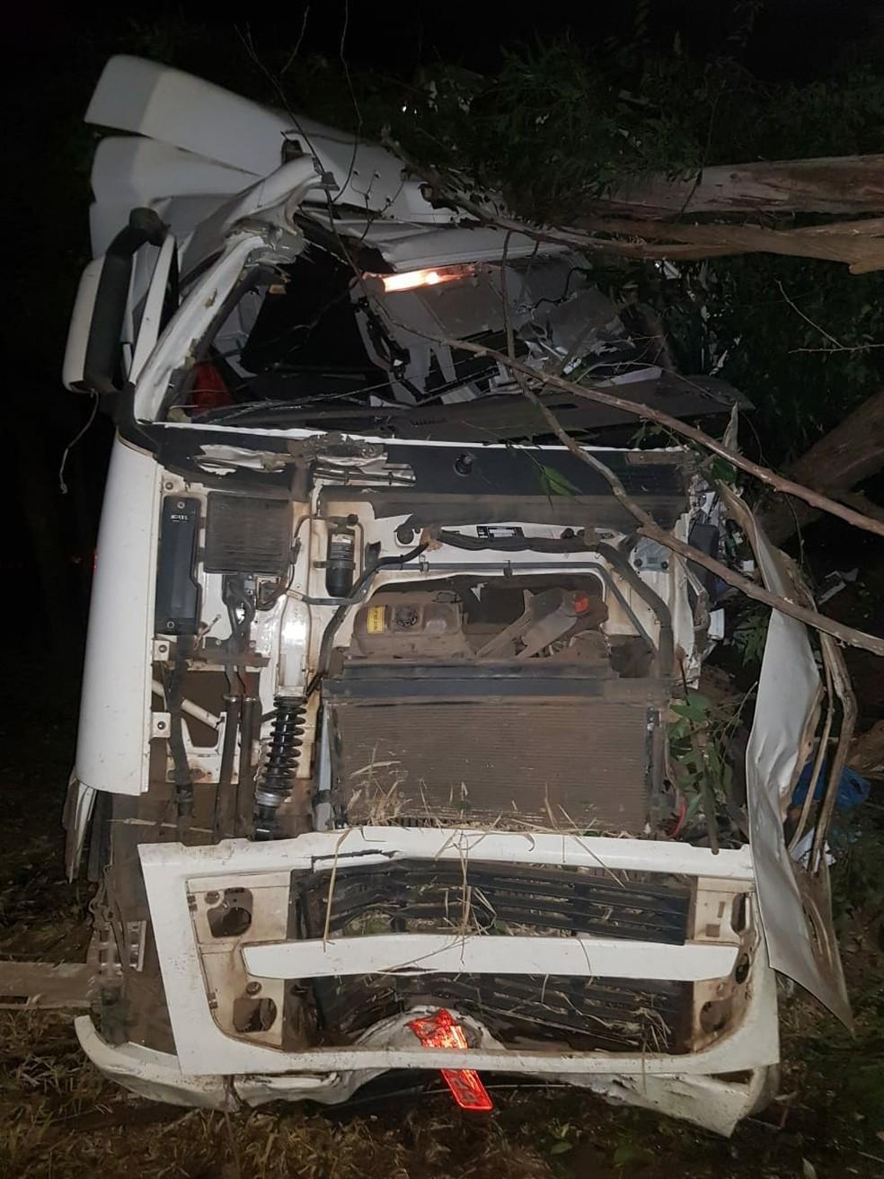 Caminhão desviou de carros e bateu em árvores às margens da rodovia SP-379 (Foto: Arquivo pessoal)