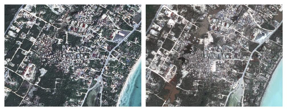 Antes e depois da praia de Providenciales, nas Ilhas Turcas e Caicos (Foto: DigitalGlobe via AP)