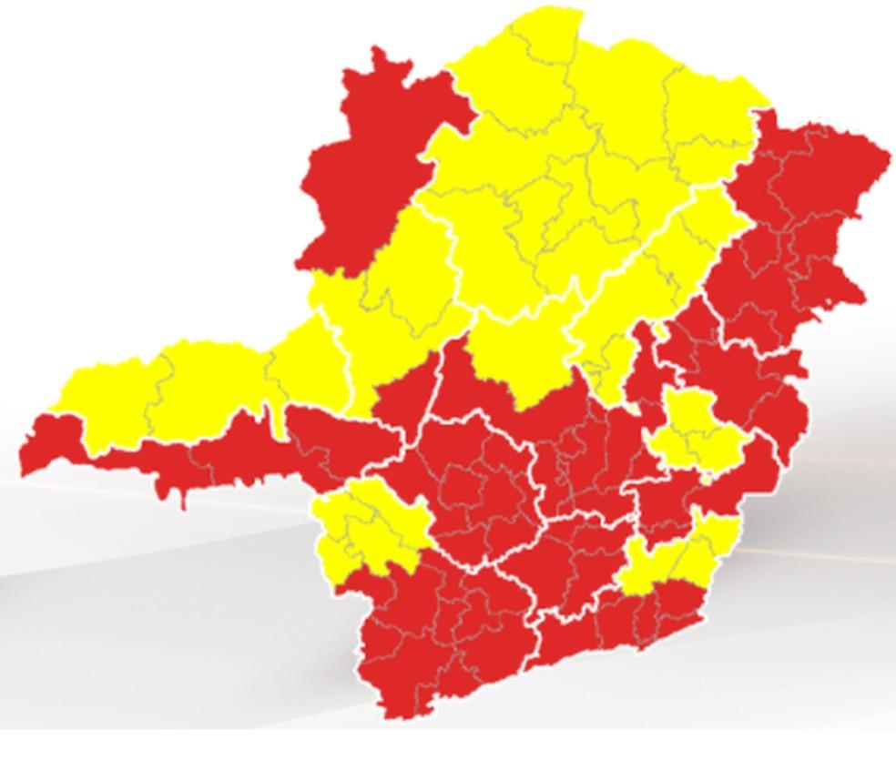 Todas as macrorregiões do estado estão nas ondas vermelha ou amarela do Minas Consciente — Foto: Governo de Minas/ Divulgação