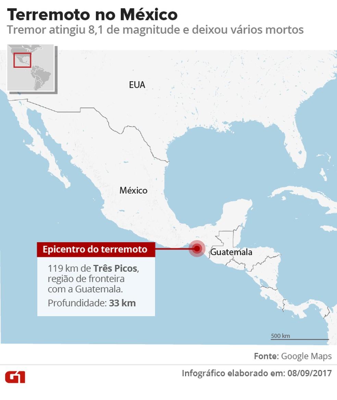 Mapa do USGS mostra local do terremoto na costa do México. (Foto: ARTE/G1)