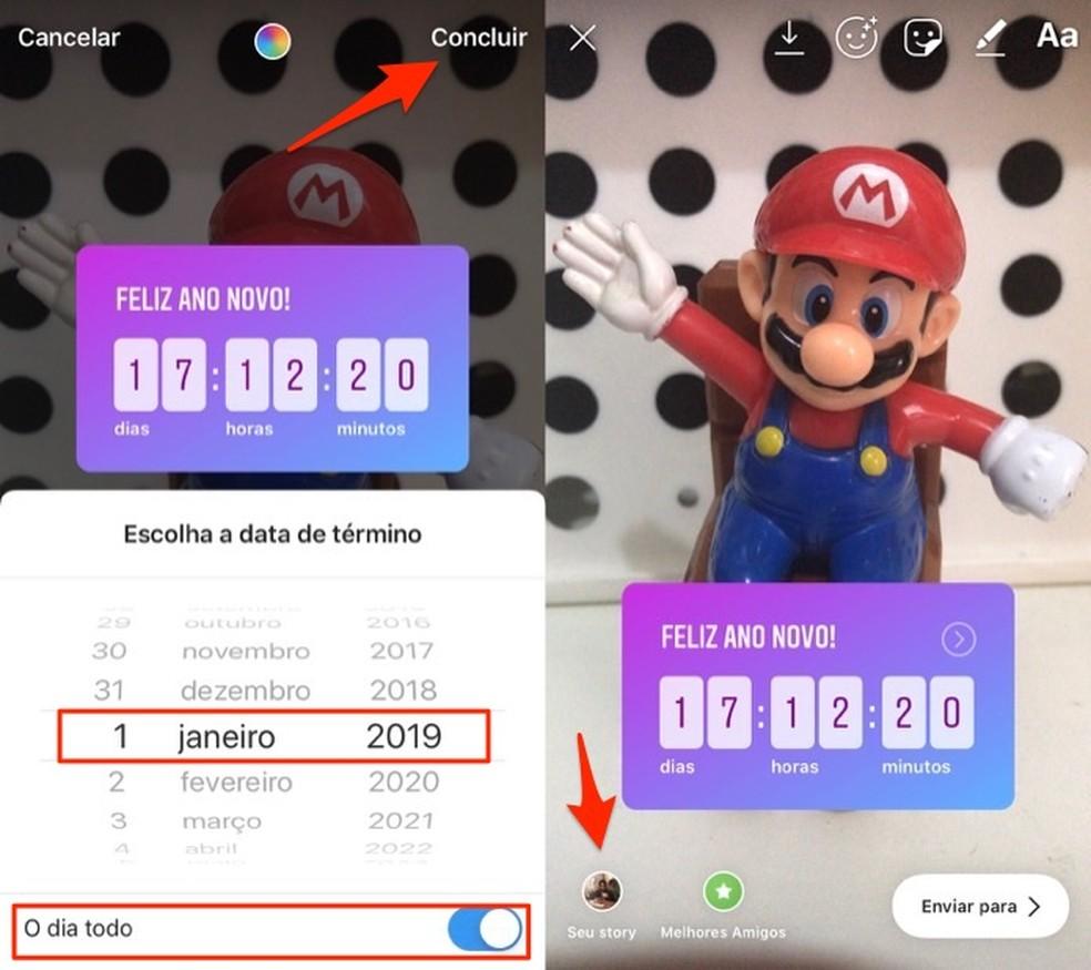 Ação para definir e publicar uma contagem regressiva de ano novo no Instagram Stories — Foto: Reprodução/Marvin Costa