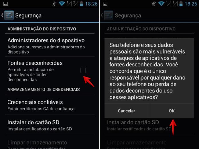 Ative a instalação de aplicativos de fontes desconhecidas (Foto: Reprodução/Helito Bijora)