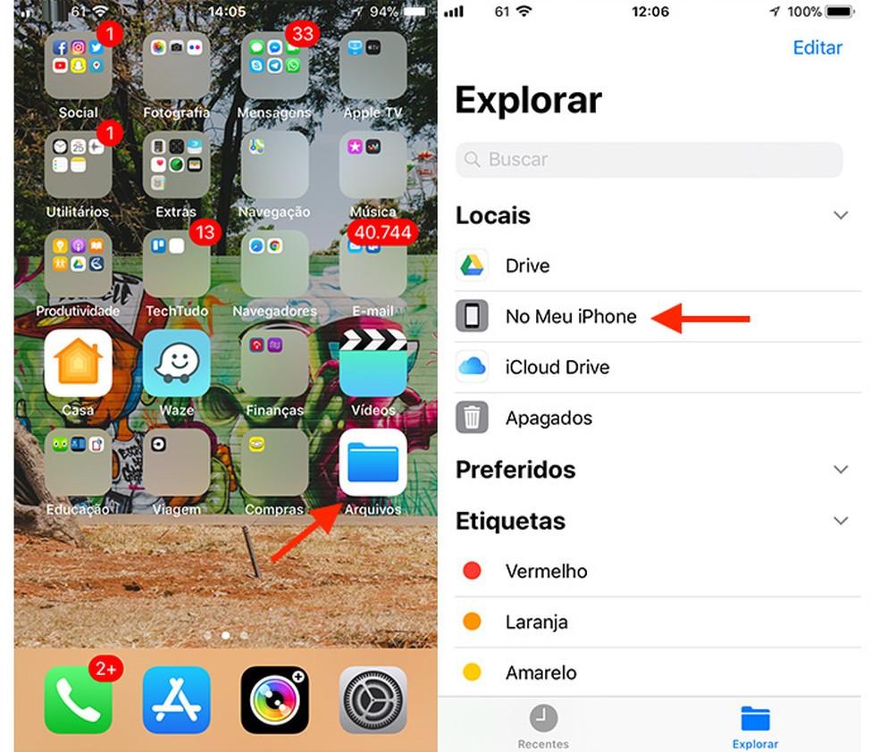 Caminho para acessar uma pasta do app Arquivos no iPhone (Foto: Reprodução/Marvin Costa)