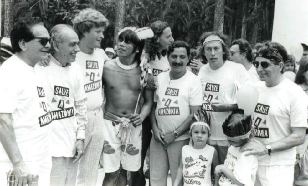 Lucio Mauro, Betinho, Sirkis, Gabeira, Minc e Chico Mendes — Foto: Reproduçãp