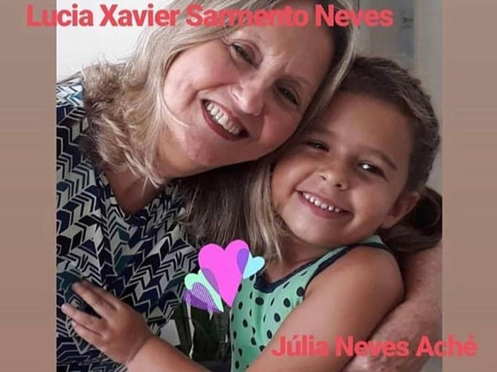 Lúcia e Júlia, que morreram soterradas — Foto: Reprodução/Redes Sociais