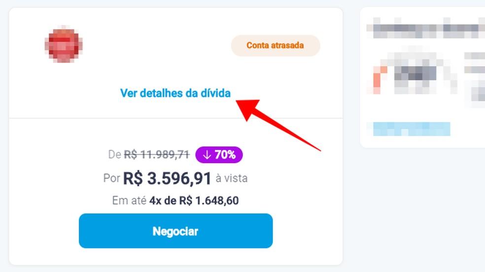 Veja oferta de quitação de dívida no Limpa Nome da Serasa — Foto: Reprodução/Paulo Alves