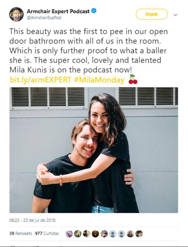 Dax Shepard e Mila Kunis (Foto: Twitter)