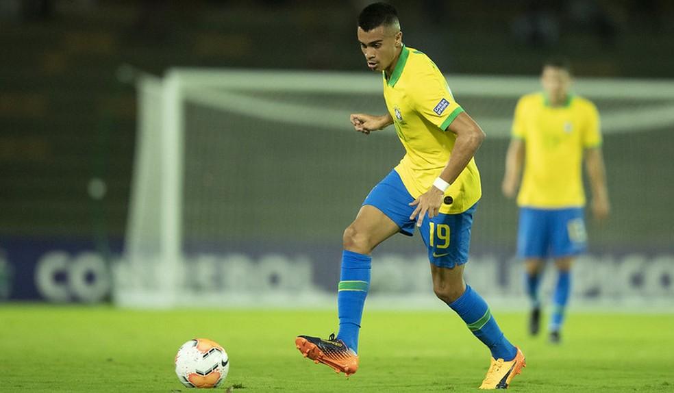 Reinier jogou 20 minutos na estreia do Brasil no Pré-Olímpico — Foto: Lucas Figueiredo / CBF