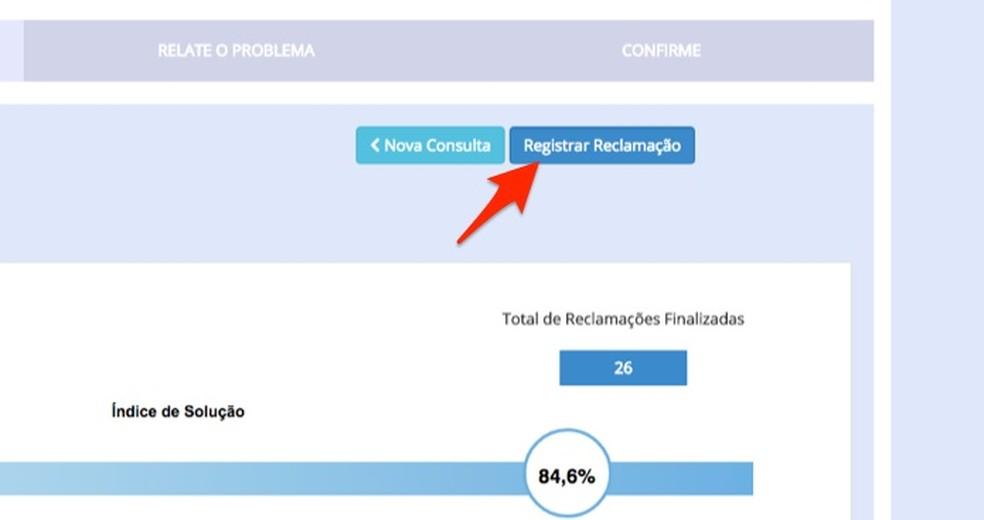 Ação para registrar um nova reclamação sobre produto da Black Friday usando o site Consumidor.gov.br — Foto: Reprodução/Marvin Costa