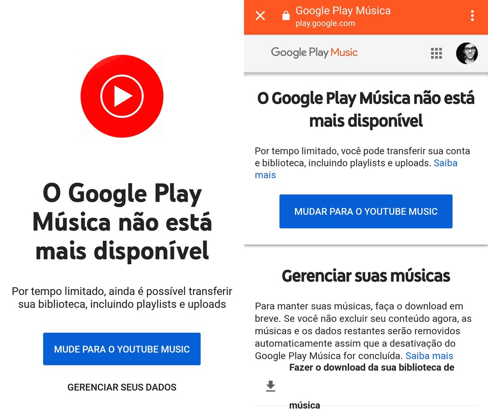 Aviso no app Google Play Música diz que usuários podem migrar para o YouTube Music. — Foto: Reprodução